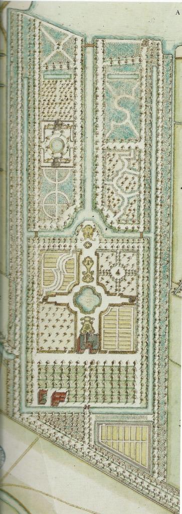 Uitsnede 18e eeuwse kaart met formele parkaan voor 't Klooster.