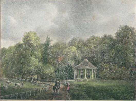 Ingekleurde litho van 'Gezigt achter de hofstede Uit den Bosch' (P.J.Lutgers, circa 1842)