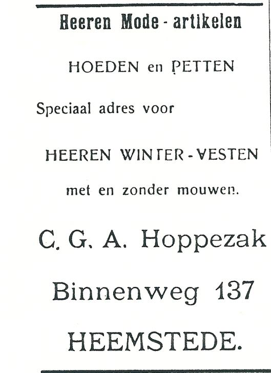 Adv. uit 1927 van herenmodezaak C.G.A.Hoppezak uit Heemstede