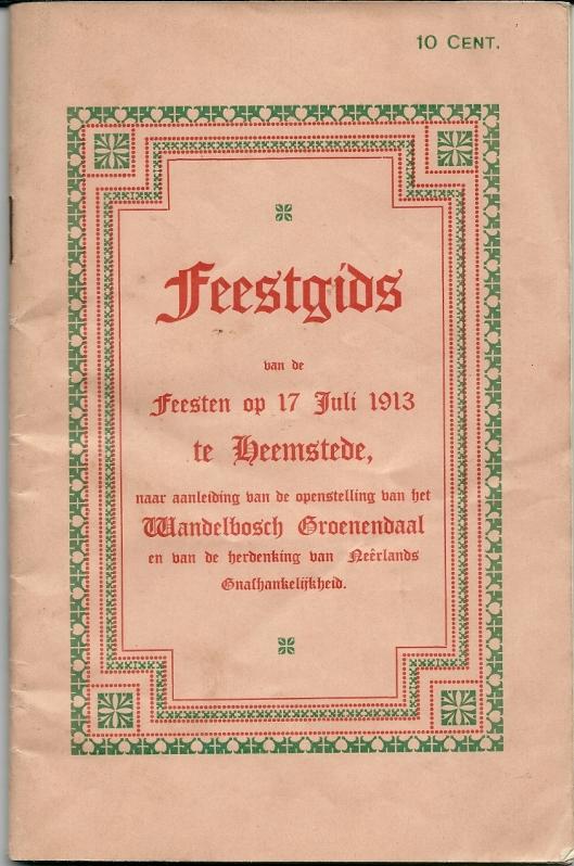 Voorzijde: Feestgids openstelling Wandelbos Groenendaal 17 juli 1913
