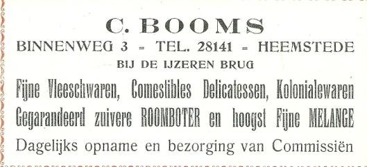 Advertentie van C.Booms levensmiddelenwinkel, Binnenweg 3 uit 1923