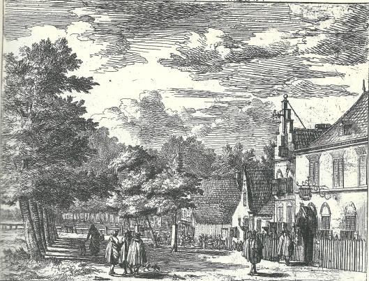 Herberg Rustenburg, later Ooijevaar en 't Bokje geheten. Ets van Jan Vincentszoon van der Vinne uit kort na 1700.