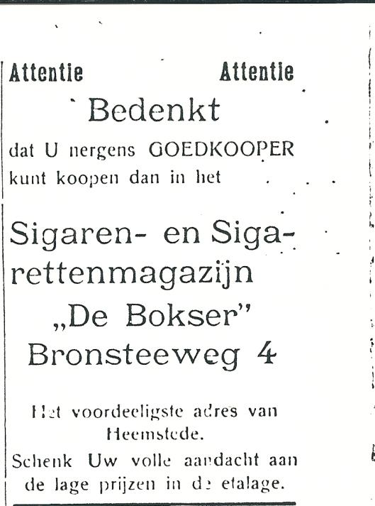 Adv. uit 1927 van sigarenmagazijn 'de Bokser' uit 1927 , Bronsteeweg 4 Heemstede