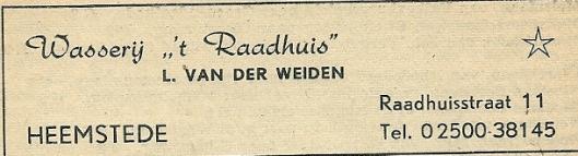 Advertentie wasserij 't Raadhuis (Van der Weiden) uit 1958