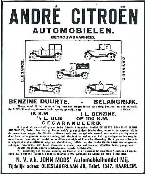 Aanvankelijk was John Moos automobielhandel tijdelijk gevestigd in Haarlem, Olieslagerlaan 40