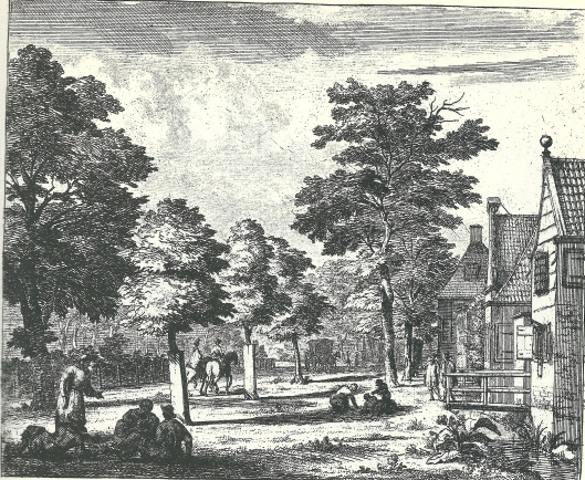 Bij herberg 't Oud Verbrand Huys aan de Kleine Houtweg. Ets door Jan Vincentsz. van der Vinne (1663-1721)