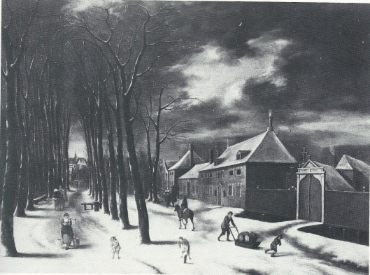 De Kleine Houtweg in 1656 geschilderd door Claes Molenaar. Rechts de toegang tot Middelhout, in 1702 bij Sparenhout getrokken.