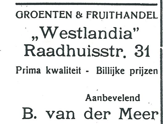 Adv. uit 1927 van groenten- en fruithandel Westlandia Heemstede