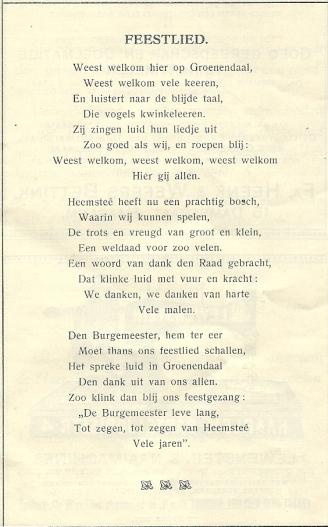 Gezongen feestlied op opening wandelbos Groenendaal in 1913