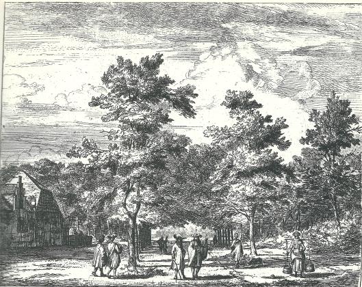'Bij het Menniste Bosie'' in de Hout. Ets van Jan Vincentszoon van der Vinne, kort na 1700 in de serie 'Gesigten buyten Haarlem'.