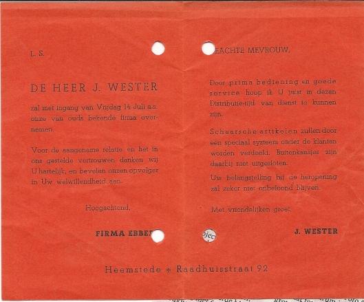 Kaartje van heropening levensmidelenbedrijf vh. Ebbers,door J.Wester, Raadhuisstraat 92 Heemstede