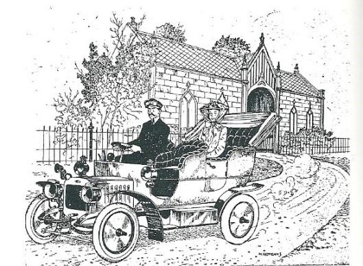 Cartoontekening van H.Rotgans. Freule Arnoldine Leonie Willink komende vanuit de poort in de oranjerie wordt in haar cabrio mogelijk gereden door haar chauffeur J.F.Krullaards, sinds 1906 in deients van de 'paarse freule', zoals haar bijnaam was, namelijk altijd deftig gekleed, meestal in lila kleur.