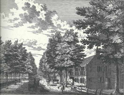 De herberg 't Dronkenmanshuisje op een 18e eeuwse gravure van Hendrik de Leth