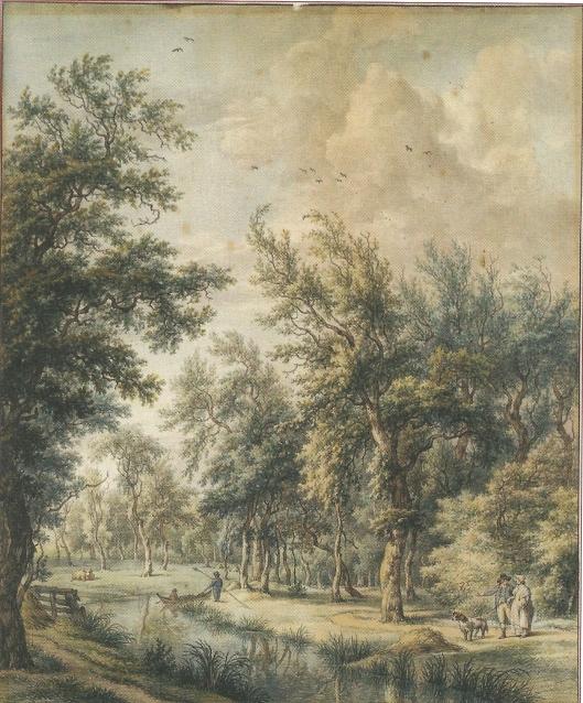 Prent van het park Elswout omtrent 1800, getekend door Egbert van Drielst
