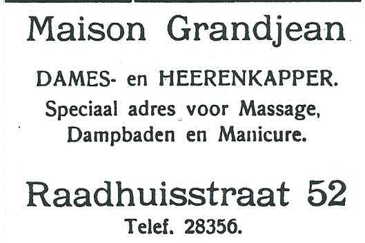 Adv. uit 1927 van kapperszaak Grandjean, Heemstede