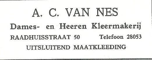 Advertentie kleermakerij A.C. van Nes, Heemstede (1927)