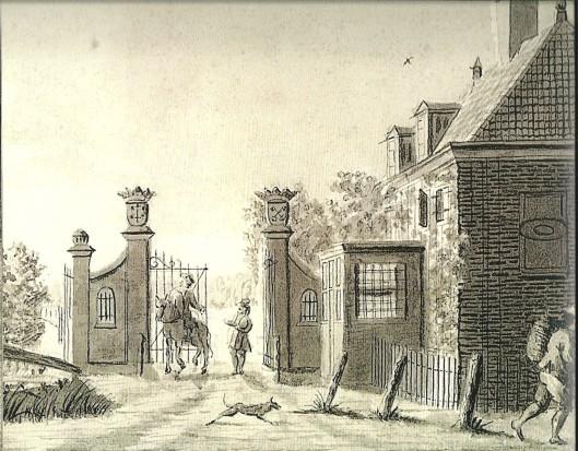 Joost Daams: tekening uit omstreeks 1770 in Oostindische inkt. Het Haarlemse tolhuis onder Heemstede (Collectie Noord-Hollands Archief)