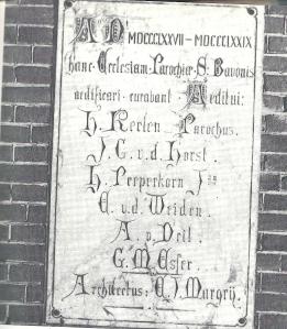 Gedenkplaat bouw nieuwe St.Bavo kerk Heemstede 1879