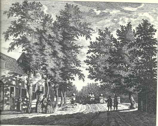 De herberg 'Out Roomen' bij het Blauwbrugje tussen de Hout n Crayenest. Ets naar een tekening van Hubert Schouten uit omstreeks 1770.