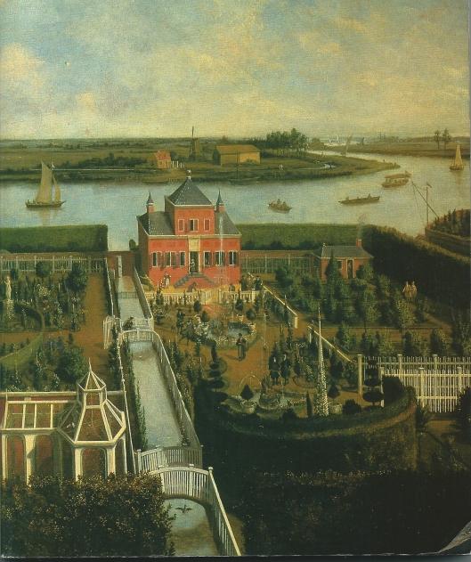 Anoniem schilderij van de hofstedes Vlietzorg en Zorgvliet aan het Zuider Buiten Spaarne uit circa 1700 (Amsterdams Historisch Museum)