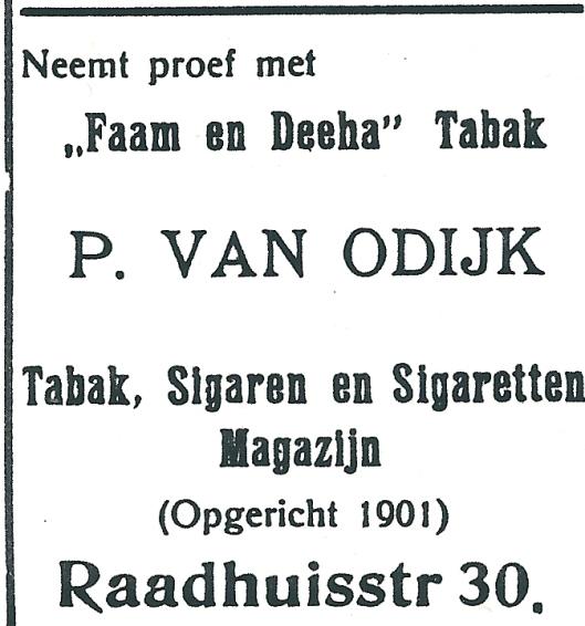 Advertentie uit 1927 van P.van Odijk, Raadhuisstraat 30 Heemstede