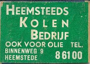 Lucifermerk van 'Heemsteeds Kolenbedrijf'Binnenweg 9, Heemstede, later bij nummer 11 ABN-bank getrokken