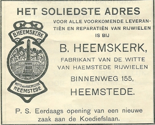 Advertentie B.Heemskerk uit 1913