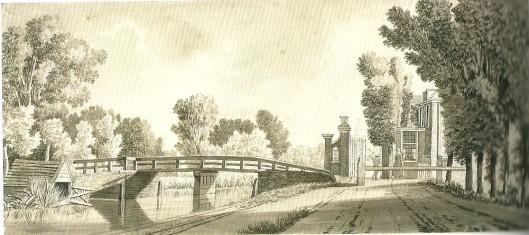 Het tolhek in Heemstede met brug over de Leidsevaart op een 19e eeuwse tekening