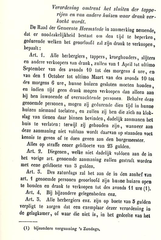 Verordening van de gemeente Heemstede uit 1851 omtrent openingstijden voor lokalen waar alcoholische dranken worden verkocht