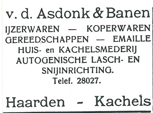 Advertentie uit 1927 van Van den Asdonk, Binnenweg Heemstede