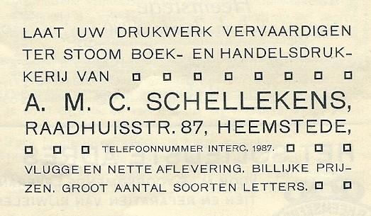 Advertentie drukkerij Schellekens, Raadhuisstraat 87 uit 1913