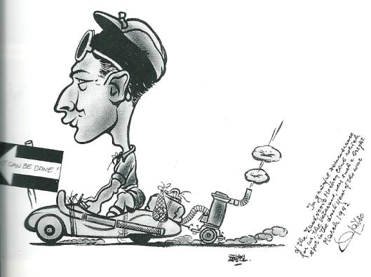 Autojournalist en tekenaar Jan Apetz zond deze cartoon van zijn vriend Maus Gatsinidesa, afgebeeld in een raceauto en daarachter een gasgenerator in Zandvoort (maart 1942)