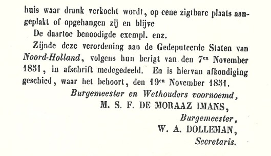 Vervolg verordening tapperijen 1851