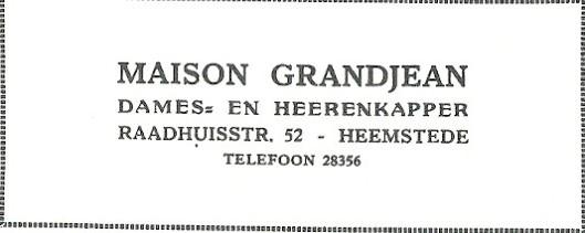Advertentie Maison Grandjean, Raadhuisstraat 52, Heemstede uit 1927