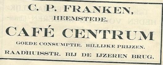 Advertentie van café Centrum uit 1913