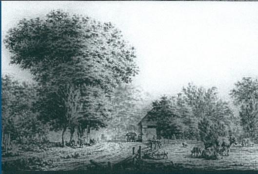 De Heerenweg met op de achtergrond herberg De Geleerde Man. Tekening uit 1773