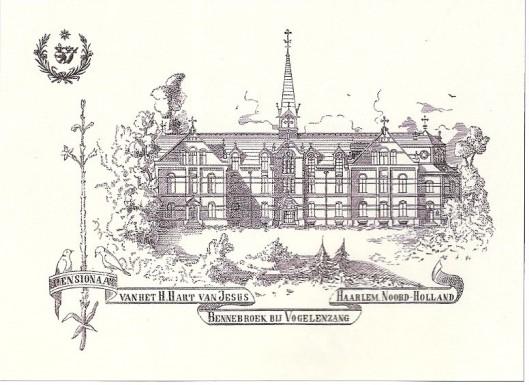 Getekende kaart van pensionaat Sacré Coeur, 1895