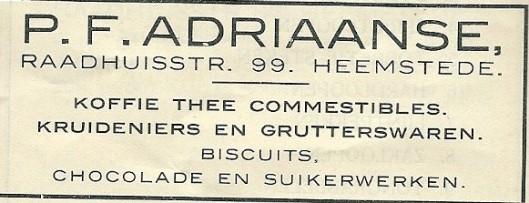 Advertentie P.F.Adriaanse uit 1913