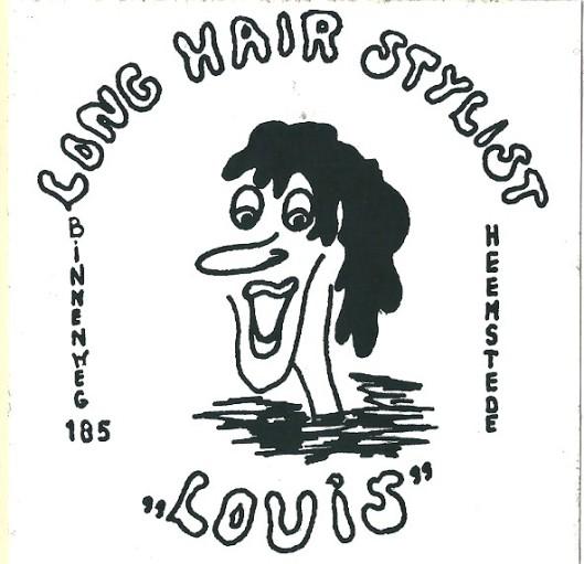 Reclamesticker van vh. coiffeur Louis
