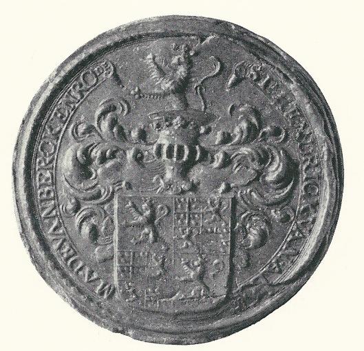 Zegel van Jonkheer Hendrick van Ackemade van Berckenrode, vertonend diens heraldische wapens, samengesteld uit de wapens van het geslacht van Alkemade en dat van Haerlem van Berkenrode. [bij akte dd 28 februari 1685 in Berkenrode-archief in het Noord-Hollands Archief.