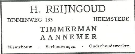 Advertentie H.Reijngoud uit 1931