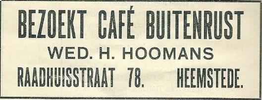 Advertentie van café Buitenrust uit 1913