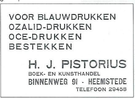 Advertentie H.J.Pistorius uit de Heemsteedse Courant van 1934