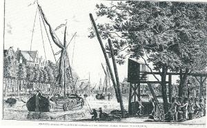Gravure van Johannes Swertner uit 764: 'Gezigt over het Spaarne bij de Brouwerij Het Dubbelt Anker binnen Haarlem'. Naar deze ets is later een opticaprent vervaardigd.