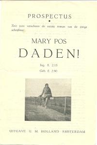 Voorzijde van prospectus roman 'Daden' door Mary Pos