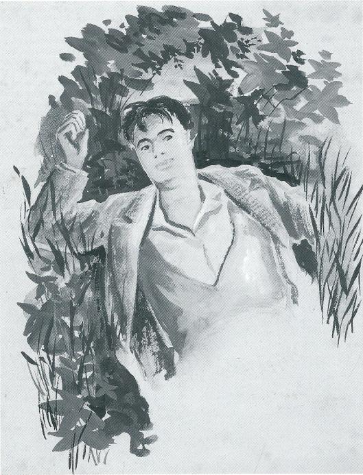 Illustratie van M.Gude uit catalogus: Godfried Bomans; brieven aan Maria. 1997.