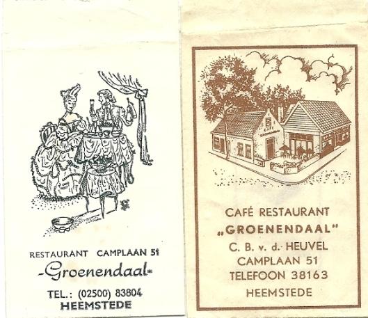Suikerzakjes van café restaurant 'Groenendaal', tegenwoordig Yverda geheten, Camplaan 51 Heemstede