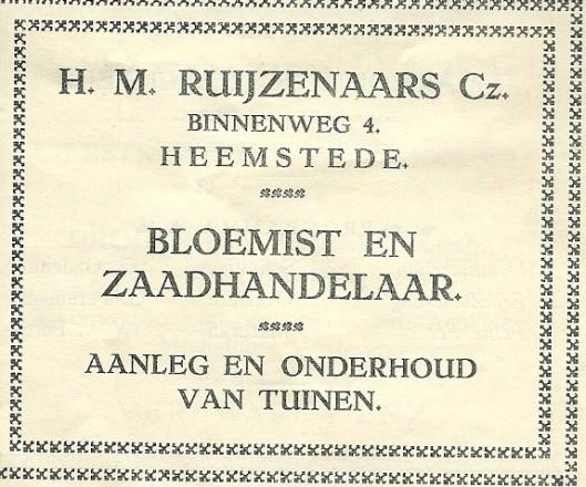 Adv. bloemist H.M.Ruijzenaars uit 193