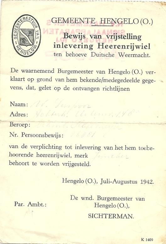 W.Verspoor verbleef een groot deel van de oorlogsperiode in Hengelo. In 1942 moest hij zijn fiets afstaan ten behoeve van de Duitse Weermacht.