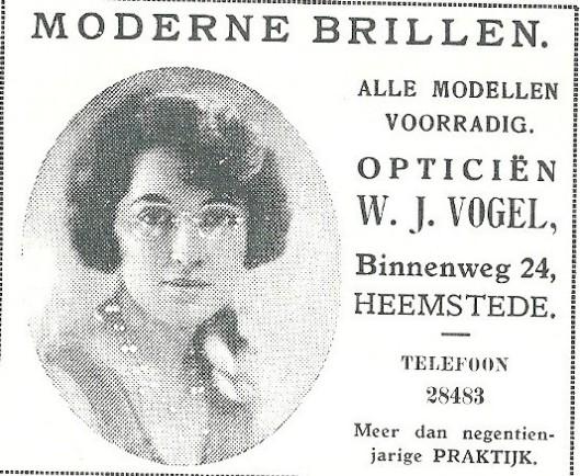 Advertentie opticiën Vogel, Binnenweg 24 Heemstede uit 1931